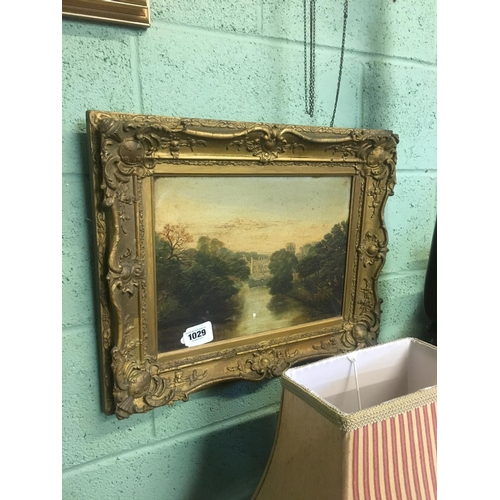 1029 - Early C19th. Framed oil on canvas. Castle view....