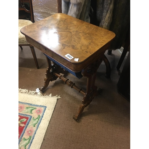 1043 - Victorian walnut sewing table....