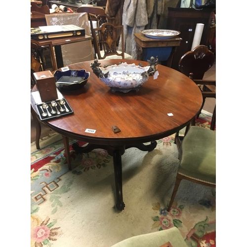 1049 - Neat Victorian mahogany breakfast table round top with turned column and three outswept feet....