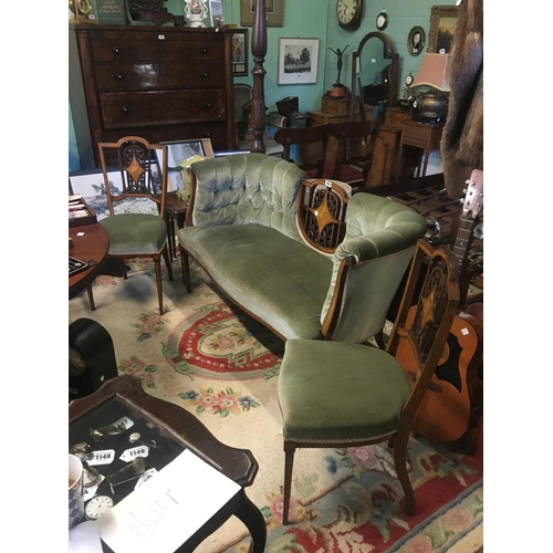 1053 - Victorian mahogany inlaid seven piece parlour suite....