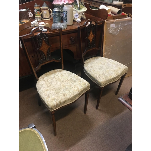 1054 - Pair of Victorian inlaid parlour chairs....