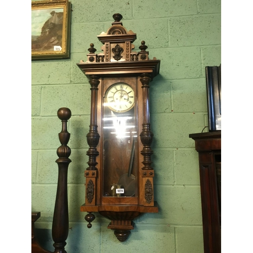 1074 - Superior quality walnut double weighted Vienna wall clock....