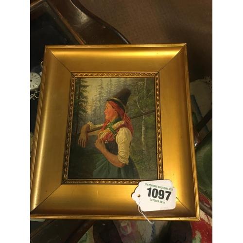 1097 - C19th. Oil on cardboard. Austrian Girl....