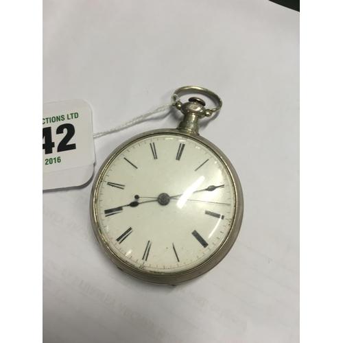 1142 - C19th. Silver pocket watch....