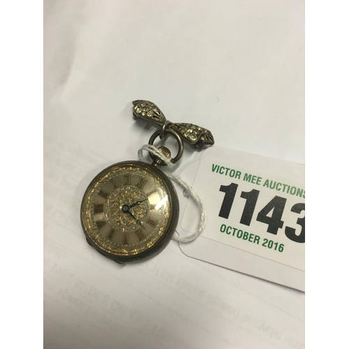 1143 - Ladies silver fob watch with maricite decoration....