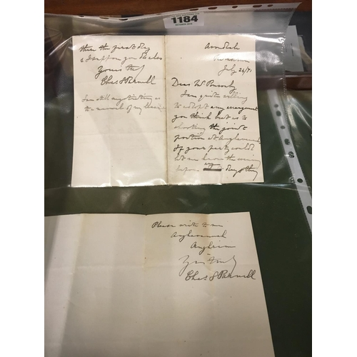 1184 - Two letters from Charles Stewart Parnell to William Ponsonby to arrange a shooting party at Aughavan...