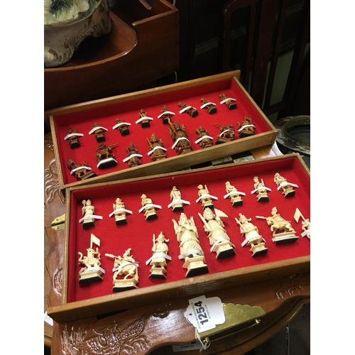 1254 - Chinese chess set with bone figures....