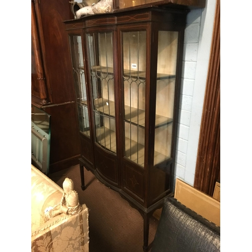 1264 - Edwardian inlaid mahogany display cabinet with two leaded glass doors....