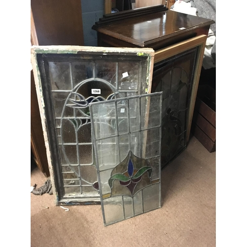 1268 - Four pieces of leaded glass two framed....