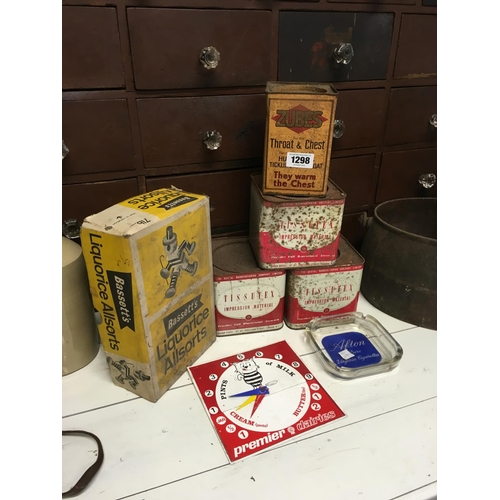 1298 - Four advertising tins, BASSETS liquorice box ashtray and clock....