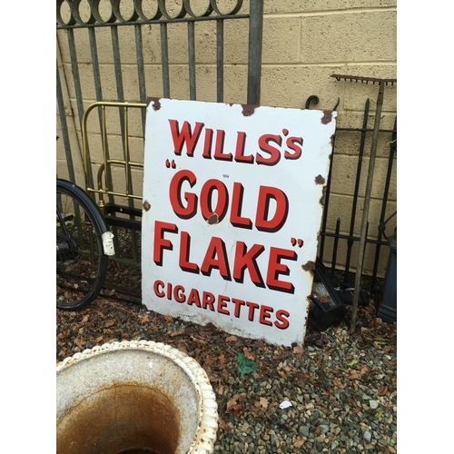 1316 - Larger Will's GOLD FLAKE enamel advertising sign....