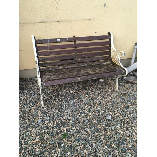 1337 - Wooden garden seat with alloy ends....