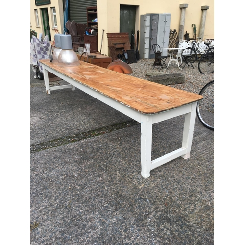 1374 - C19th. Painted pine table. (144cmL x 76cmW)....