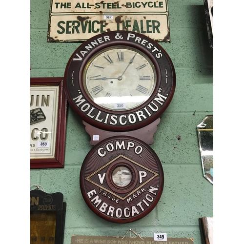 350 - Original VANNER AND PRESTS advertising clock....