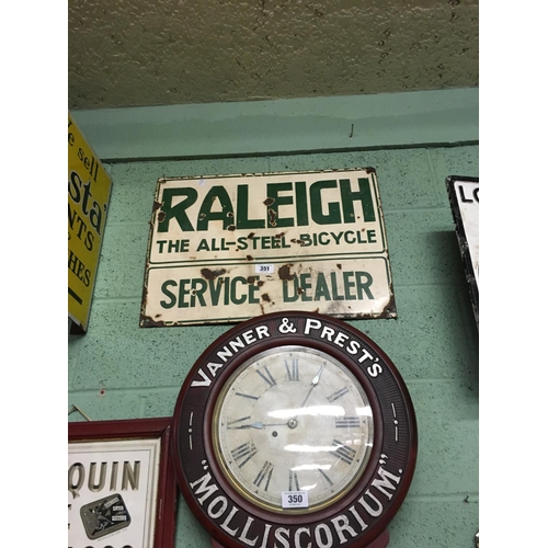 351 - RALEIGH THE ALL STEEL BICYCLE SERVICE DEALER enamel sign...