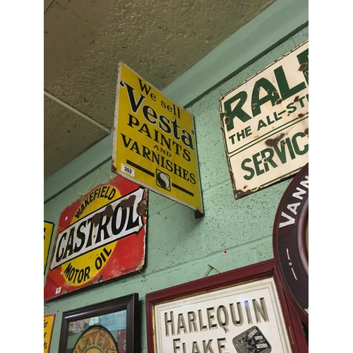 352 - Original enamel double sided VESTA PAINTS AND VARNISHES wall sign....