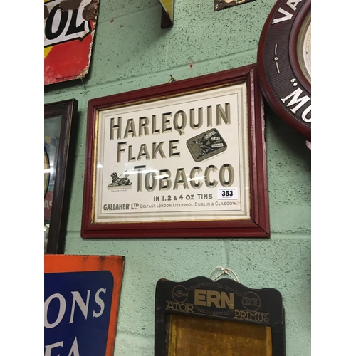 353 - Origina lframed HARLEQUIN FLAKE TOBACCO  cardboard sign....