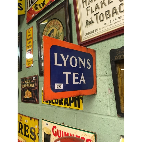 355 - Original LYONS TEA double sided enamel wall sign....