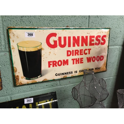 368 - 1950's celluloid GUINNESS DIRECT FROM THE WOOD advertising sign....