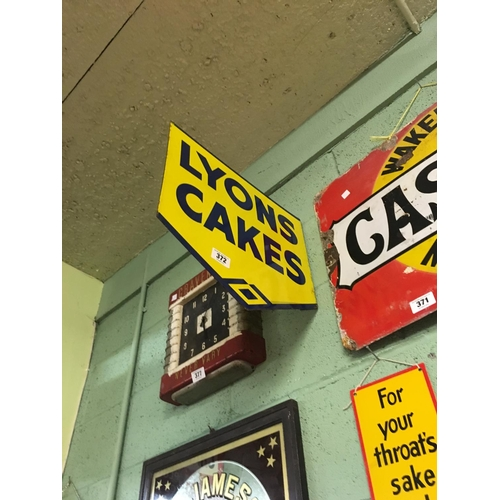 372 - Original double sided enamel LYONS CAKES sign...