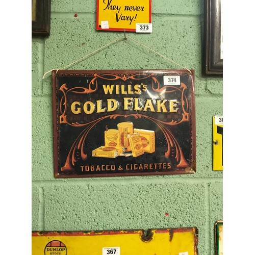 374 - Tin plate WILLS GOLD FLAKE advertising sign....