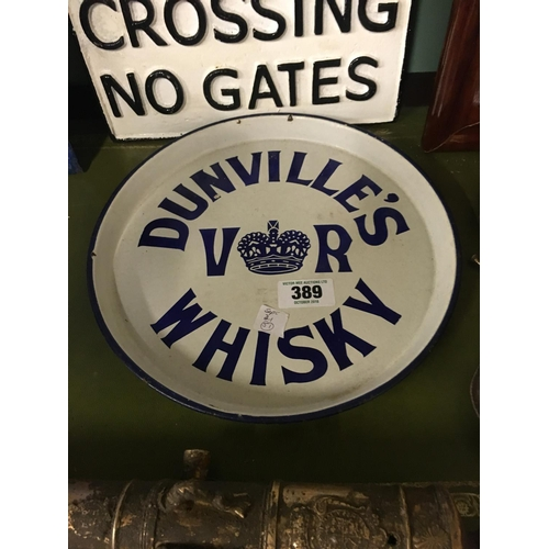 389 - Original DUNVILLE'S Whiskey enamel advertising tray....