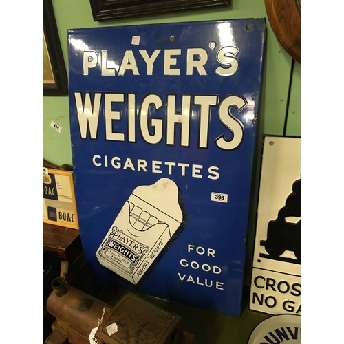 396 - Original 1930's PLAYERS WEIGHTS enamel advertising sign...