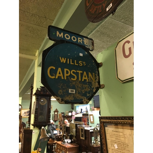 400 - Double sided metal  WILLS CAPSTAN wall sign....