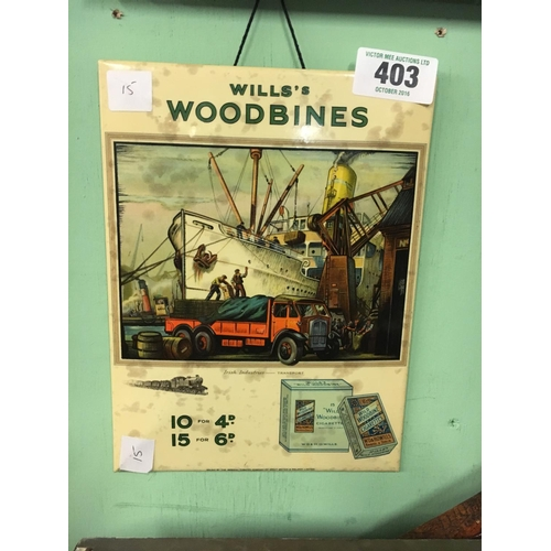 403 - 1930's WILLS WOODBINE  celluloid advert....