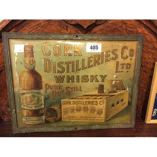 405 - Original tin plate CORK DISTILLERS whiskey advertisement....