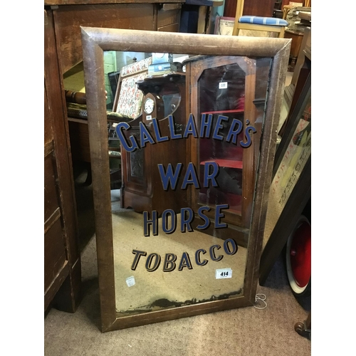 414 - Original framed GALLAGHERS WAR HORSE TOBACCO advertising mirror....