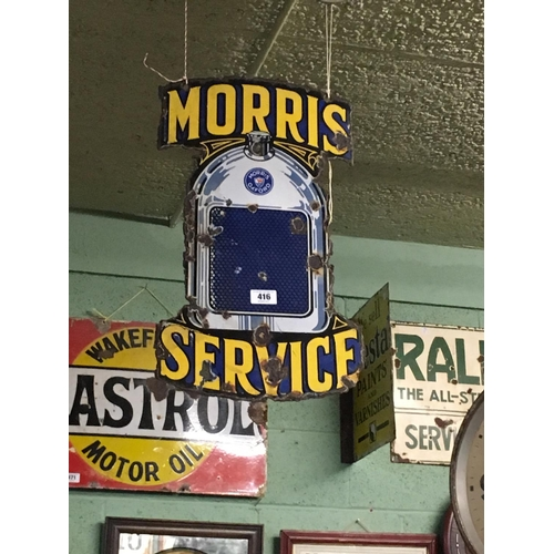 416 - Rare 1920's double sided MORRIS SERVICE sign in the form of a radiator....