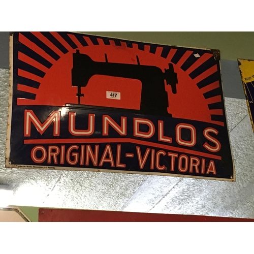 417 - Original ename MUNDLOS ORIGINAL VICTORIA sewing machine advertising sign....