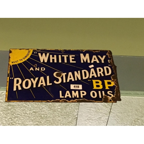 418 - Original double sided enamel WHITE MAY ROYAL BP sign...