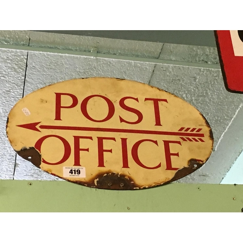 419 - Original double sided POST OFFICE enamel sign....