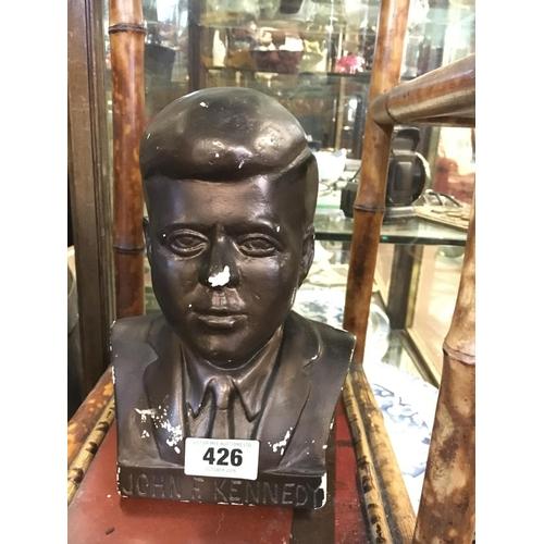 426 - Chalk bust of President J F Kennedy...