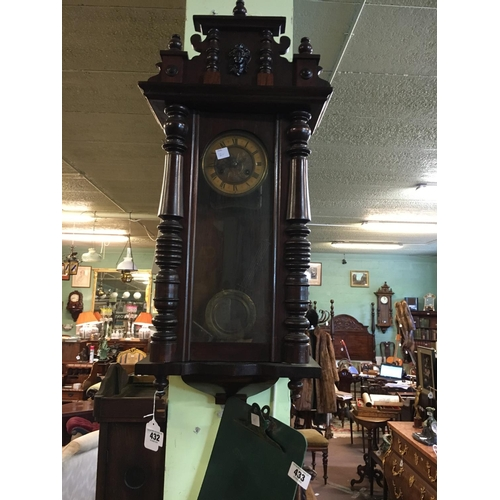 432 - C19th. Spring driven walnut clock....