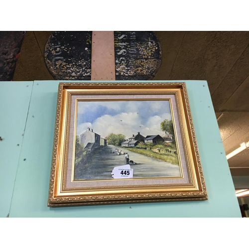 445 - Framed oil on board VILLAGE SCENE....