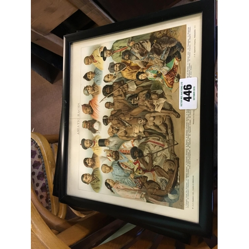 446 - Thirteen framed coloured prints of indigenous tribes...