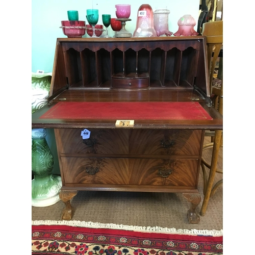 448 - 1950's walnut fall front bureau....