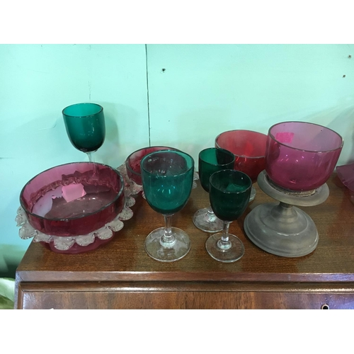 451 - Collection of C19th glassware - four cranberrry and four green....