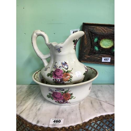 459 - Flora jug and basin set....