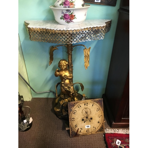 460 - C20th. Gilt and brass marble topped console table....