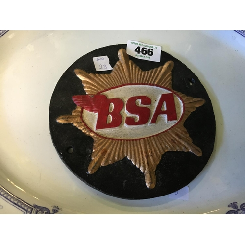 466 - Cast iron BSA metal advertising sign....