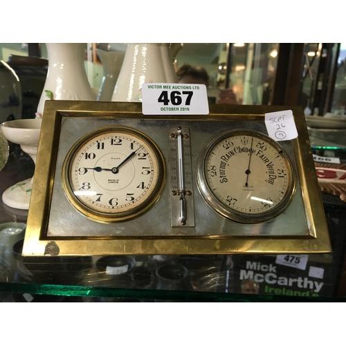 467 - 1930's brass barometer desk set....