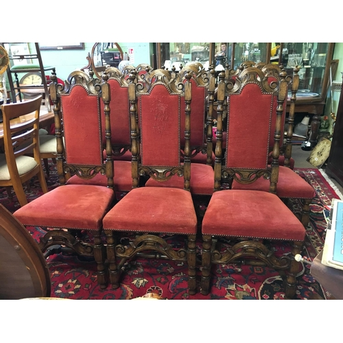 487 - Good set of oak 8 + 2 upholstered dining room chairs....