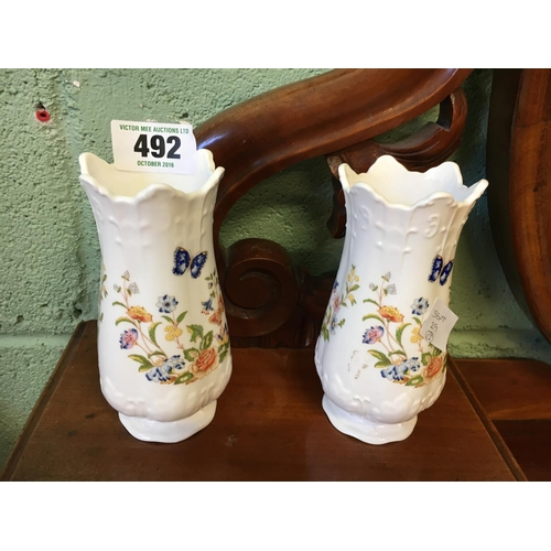 492 - Pair of Aynsley Cottage Garden vases....