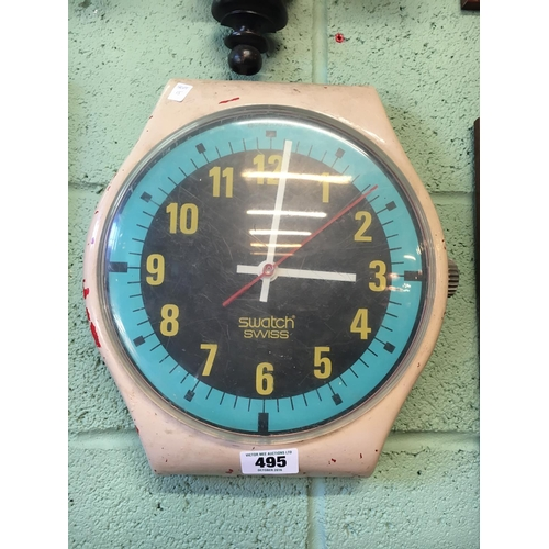 495 - 1970's plastic advertising SWATCH clock face....