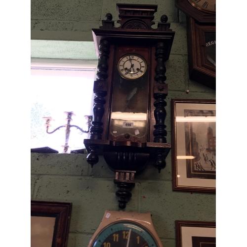 496 - Victorian mahogany spring driven clock....