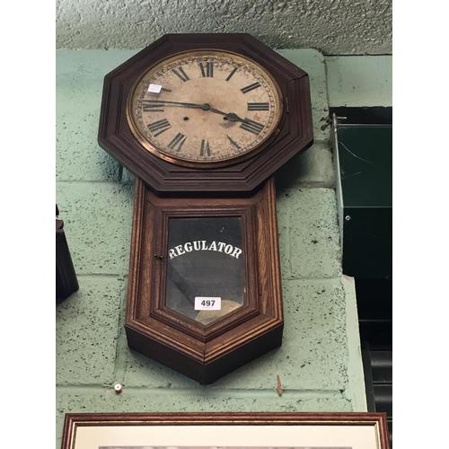 497 - C19th oak drop dial regulator clock....